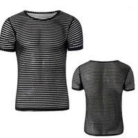 Unisex Unisex Sexy Malha Sheer Basic Shirts O-pescoço Gay mangas curtas emergência de emagrecimento de camisetas Inner tops pijamas dormir wear1
