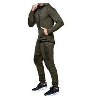Primavera e autunno Tracksuits Mens Set Set di colori solidi Fit slim fit fitness con cappuccio sportivo con cappuccio in due pezzi M-3XL