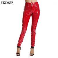 Женские брюки CAPRIS UKCNSEP 2021 Женщины осень осень зима тощий PU кожаные карандашные леггинсы кнопка высокой талии брюки1