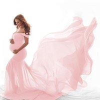 Neue lange Kleider Mutterschaft Fotografie Requisiten Schwangerschaftskleid Chiffon für Foto schießen Schulter für Frauen Mutterschaft1