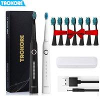 Backore Sonic Elektrikli Diş Fırçası USB Şarj Edilebilir Akıllı Yetişkin Su Geçirmez IPX7 Zamanlayıcı Fırçası 5 Modu USB Şarj 201113