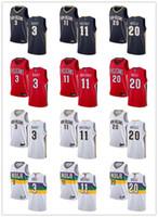 Jugendliche Herren WomensNew OrleansPelikane3 Josh Hart 11 JrueFeiertag 20 Nicolo.Melli White Navy Custom Basketball-Trikots