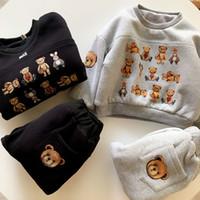 Niños moda ropa conjunto invierno caliente venta trajes grueso niños niña niña casual sudaderas sólido color oso impreso dos piezas traje chándal