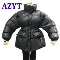 여성용 다운 파카 Azyt 한국어로 느슨한 겨울 자켓 여성용 2021 벨트가 달린 따뜻한 솔리드 캐주얼 스트리트웨어 면화