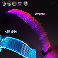 Computer Kabels Connectors PSU-verlengkabel Kit RGB RAINBOW GPU 8P (8 + 8), 24-pins koord, Neon Line-ondersteuning MOBO AURA Sync 5V ARGB 12V RGB1