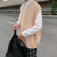 남성용 스웨터 한국어 스타일 니트 조끼 패션 단단한 색상 캐주얼 V 넥 스웨터 남성 스트리트웨어 느슨한 뜨개질 망