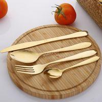 4 قطعة / المجموعة الذهب السكاكين ملعقة شوكة سكين الشاي ملعقة ماتي الذهب الفولاذ المقاوم للصدأ الغذاء الفضي البرية مجموعات