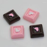50PCSTWO Цвет моделирования квадратный кирпичный шоколадный смолы бусины Candy Block смола для рентгеновского крафговой сумки или ювелирных аксессуаров1