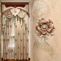 Cortina cortinas top villa de luxo em relevo 3d jacquard sala de estar cortinas elegante quarto decorativo decoração + sombreamento claro completo