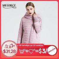 Jaqueta de outono de mola miegofce com corte oblíquo de jaqueta de mulheres brilhantes casaco de algodão fino à prova de vento casaco de manga de malha quente 201031