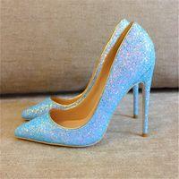 패션 여성 푸른 반짝이 스트라미 포인트 발가락 신발 섹시한 섹시한 10cm 스틸 레토 하이힐 얇은 굽된 신발 펌프 여자 웨딩 파티 신발 크기 33-45