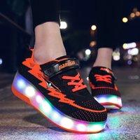 크기 28-40 USB 아이를위한 빛나는 롤러 스케이트 신발 소년 소녀 더블 바퀴 스 니 커 롤러 롤러와 신발 LJ201203