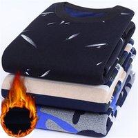 NIGRITE осень зима мужские повседневные вязаные свитера плюс бархатный свитер фланелевой новых пуловеров спандекс о-часовый бренд мужской одежды 201214