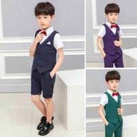 Детская горячая рекомендация Best Sale Boys Forform Formate Event Stateire Свадебное малыш платье костюм брюки + галстук + жилет + рубашка
