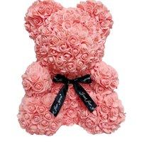 RTS 25cm Rose Teddy Bear com caixa de presente Natal casamento presente para namorada aniversário frete grátis