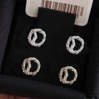 Moda ouro diamante stud brincos aretes para senhora mulheres festa casamento amantes do casamento jóias de noivado para noiva com caixa.