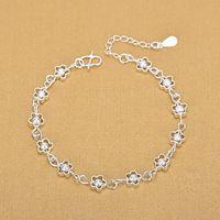 925 Sterling Fashion Piccolo Flower Hollow Plum Silver Silver Silver Bracciale Bracciale Bracciale