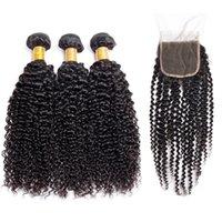 9a Afro Kinky Curly Humain Hair Bundles Modern Show Virgin Vierge Bundles avec fermetures Extensions de cheveux 3 Bundles avec fermeture