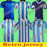 Retro Maradona 1986 Argentinien Home Fussball Jersey Maradona 1978 1996 Fußballhemd Batistuta 1998 Riquelme Maradona