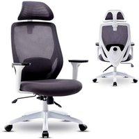 كرسي مكتب واكو، كرسي مكتب مريح، كرسي شبكة الكمبيوتر مع مسند رأس قابل للتعديل وذراعين، وظيفة الإمالة وقفل الموقف، أبيض