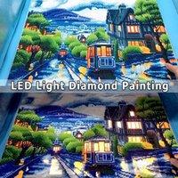 AZQSD Diamante Pintura escénica LED Luz Luz Enmarcada Taladro Ronda Completo 5D DIY Diam Diam Diam Mosaic City Tram Set Fall Art 40x50cm 20112