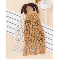 Realer Frauen Handtaschen Gewebt Taschen Top-Griff Weibliche Strandtaschen für Sommerreisen / Einkaufstaschen mit Holz 2020 Böhmen Quaste