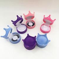 Krone Diamant Wimpernverpackungsbox leeres rosa blaues 3d nerz Wimpernfall für reguläre Länge Wimpern