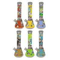 """Glow in the Dark Beaker 8 """"Bongs con 14mm Joint Joint New Design Glass Water Tube Cool Hand Painting DAB RIG OLIO PIG NARNAHS FY2356"""