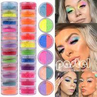 12 Renkler Mix / Set Neon Gevşek Toz Göz Farı Pigment Mat Mineral Pul Sıralı Tırnak Toz Makyaj Pırıltılı Shining Göz Farı