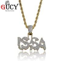 Naszyjniki wisiorek Gucy Hip Hop Biżuteria Złoty Kolor Plated Iced Out Micro Beton Błyszczący CZ Kamienie Listy Issa Combine Naszyjnik Dla Męskiego Prezenta