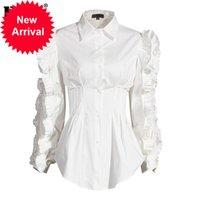 [EAM] Kadınlar Beyaz Ruffles Bölünmüş Mizaç Bluz Yeni Yaka Uzun Kollu Gevşek Fit Gömlek Moda Gelgit İlkbahar Sonbahar 2020 1DA247