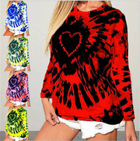 여성 스웨터 풀오버 디자이너 사랑 넥타이 염료 인쇄 긴 소매 티셔츠 후드 티드 탑스 발렌타인 데이 플러스 사이즈 여성 의류 E120504