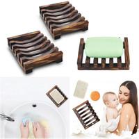 ABD Stok Doğal Ahşap Bambu Sabun Çanak Tepsi Tutucu Depolama Sabunluk Plaka Kutusu Konteyner Banyo Duş Plakası Banyo için FY4366