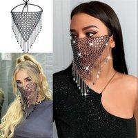 Grid Tejido Rhinestone Mascarilla Cara Adulto Bling Cristal Barlezas Boca Masks Mascherine Reutilizable Moda Bardian 15sk G2