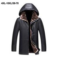 Yeni Erkekler Deri Ceket Faux Koyun Ceket Kış Deri Ceket Palto Motosiklet Deri Ceket Kapüşonlu Artı Boyutu 4XL-10XL 201216