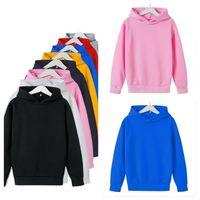 8 colori Bambini Felpe Girls Boys Color Solid Colot Cotton Hooded Top Hoodie Giacca Cappotto Bambini Autunno Inverno Vestiti Abbigliamento G12705