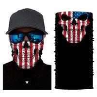 Teschio sciarpa magica American National Flag Bandana maschera di protezione mezza di 25 * 50cm Camo fascia Turbante sci Escursioni in bicicletta Mask CYZ2913