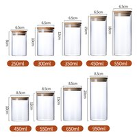 Botellas de cubierta de almacenamiento de alimentos de vidrio transparente Botellas de cobertura de tapones para alimentos líquidos de arena Botellas de vidrio ecológicas con tapa de bambú DHL gratis