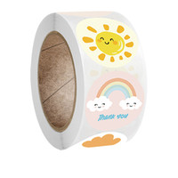 500 sztuk / Roll Cartoon Seal Etykiety Naklejki Nagroda Dla Dzieci Samoprzylepne Pozytywne słowa Incentive Sunny Cloud Kształt Naklejki Ścienne Darmowe DHL