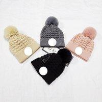 Зимний теплый вязаный крючком вязаный POM Beanie Unisex манжеты шляпы канадские европейские дизайнеры стиль причудливый копченый комок для черепа тук лыжный спорт D113004