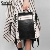 أزياء أنثى برشام ظهره للماء حقيبة جلد طبيعي حقيبة الكتف للبنات الأسود الشرير المدرسية 12 بوصة أكياس ترافال