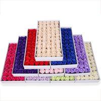 50 adet / kutu Gül Sabun Çiçek 5 cm Çapında El Yapımı Sabun Çiçek Hediye Kutusu Buketi Sevgililer Günü Hediyesi için DHL Ücretsiz Kargo