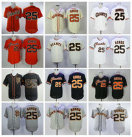 Hommes retire la balle de baseball 25 Barry Bonds Jerseys Vintage 1989 Flexbase Cool Base Pull Flowover Team Couleur Noir Gris Blanc Orange Beige Broderie