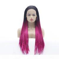الجبهة الرباط مزين شعر مستعار طويل اثنين من لهجة أومبير صندوق طويل الضفائر الحرارة الألياف مقاومة الشعر غلويليس الاصطناعية شعر مستعار للنساء