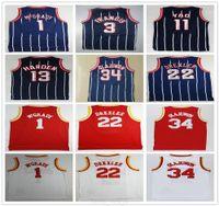 Retro Vintage Klasik Basketbol 13 Sertleştirilmiş Formalar Ucuz Hakeem 34 Olajuwon Tracy Steve McGrady Francis Yao Clyde Ming Drexler Yüksek Kalite