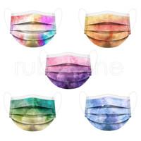 Adultos coloridos gravata-tintura descartável máscara de rosto 3-ply anti dust anti poluição pm2.5 máscara de capa de boca descartável RRA2397