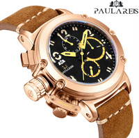 Uomini Automatico Auto Vento Meccanico Genuino Brown Leather Pelle Multifunzione Data di barca Mese Bronzo Luminoso Limited Gold Gold Bronzo U Guarda LJ201123