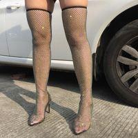 Boots Sock Rettle Net Crystal над коленом Bling сетка бедра высокие блестящие каблуки на каблуках