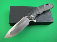 High end clássico XM-18 flipper lâmina de lâmina D2 cetim gota ponto lâmina tc4 titanium liga liga de alça de rolamento facas