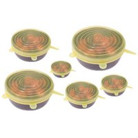 Reusable Silicone Stretch Lids 6 Pcs/Set Universal Lid Bowl Pot Lid Silicone Cover Kitchen Cooking Food Fresh Bowl Cover VTKY2102